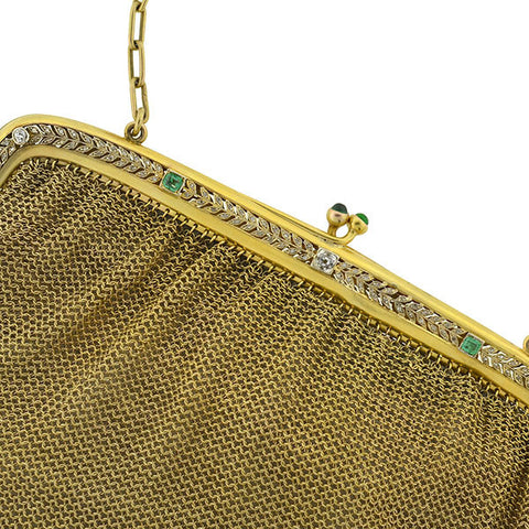 Edwardian 14kt Gold Mesh Purse Diamonds & Emeralds