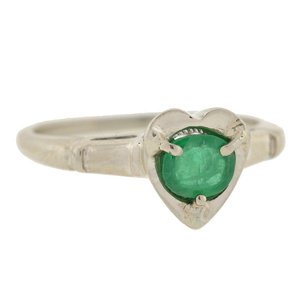Vintage 14kt White Gold & Emerald Heart Ring