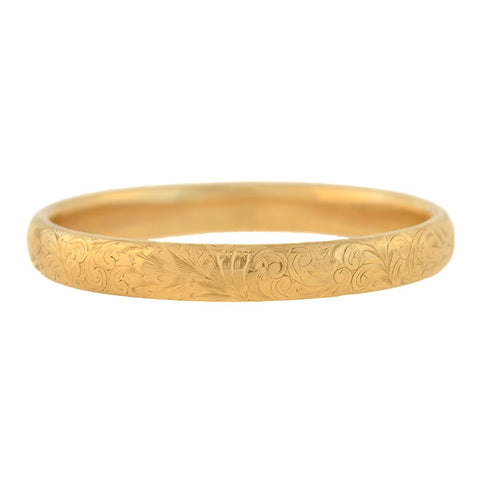 Late Victorian 14kt Etched Floral Bangle Bracelet