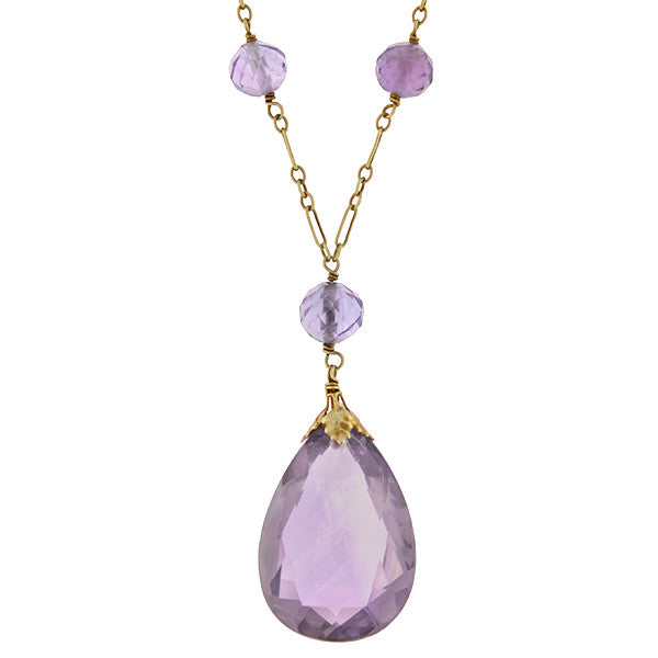 Art Deco 14kt Faceted Amethyst Necklace