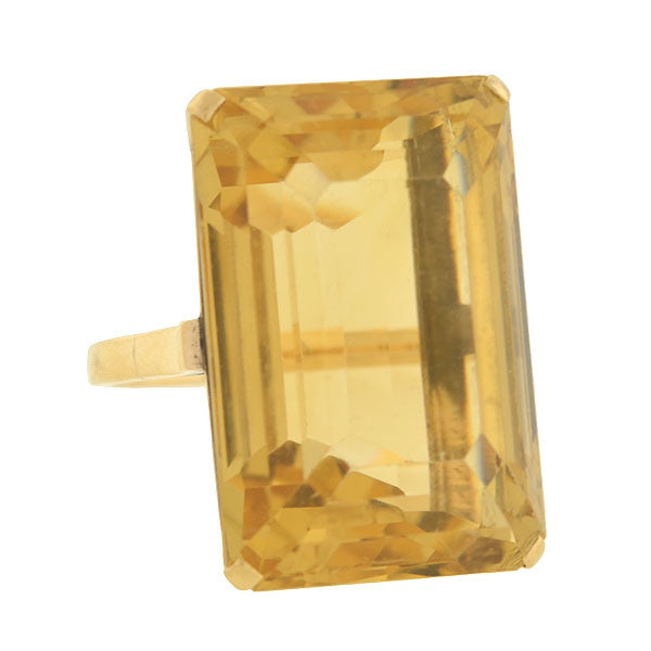 Retro 14kt Huge Citrine Cocktail Ring 40ct.