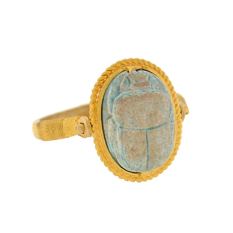Art Deco 20kt Egyptian Faience Scarab Ring