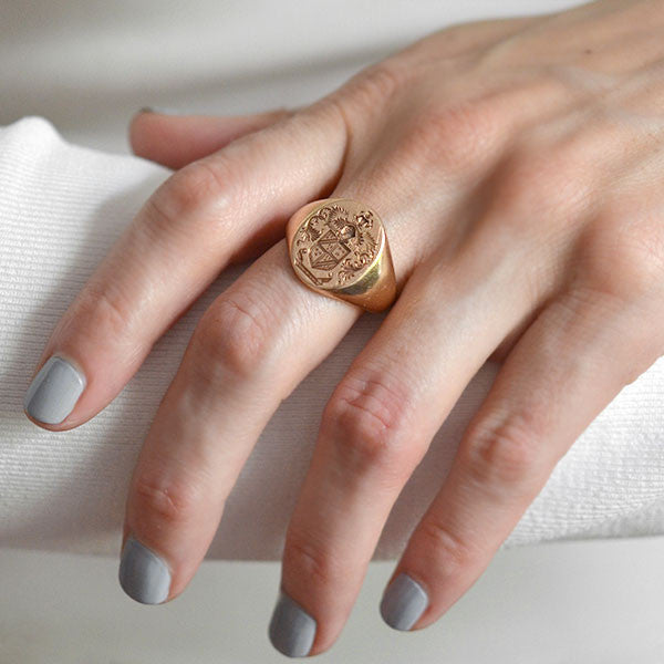 Victorian 14kt Gold Family Crest Signet Ring A Brandt Son