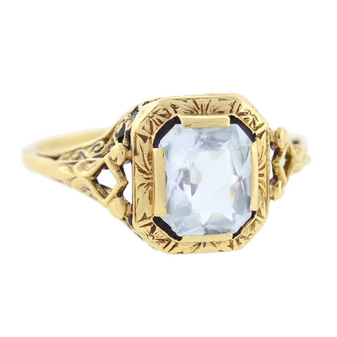 Art Deco 14kt Gold Aquamarine Ring 1.25ctw