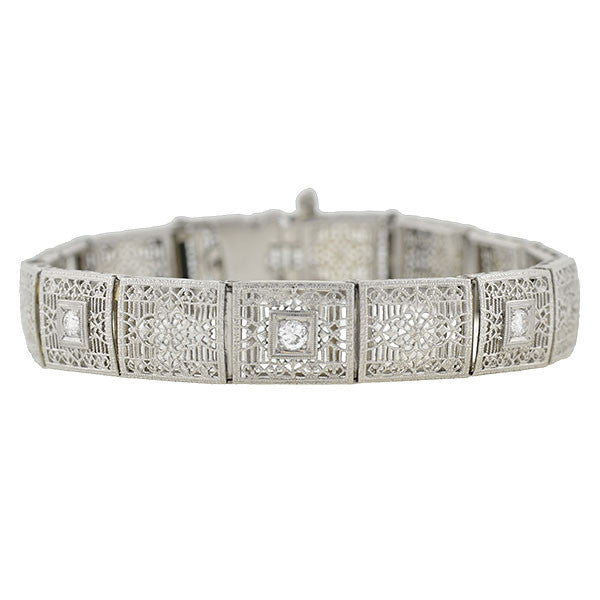 Edwardian 14kt Diamond Filigree Line Bracelet