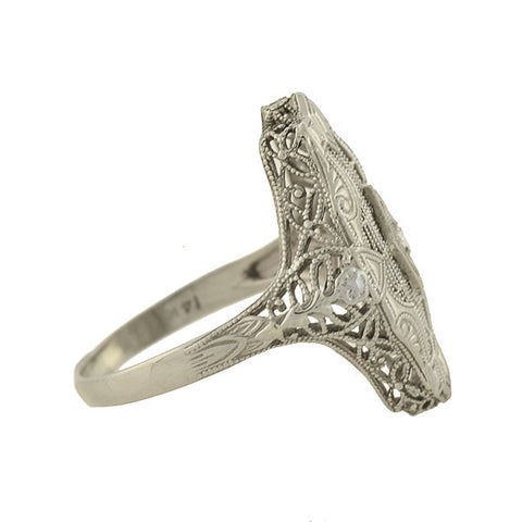 Art Deco 14kt Diamond Geometric + Floral Filigree Ring