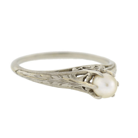 Edwardian 18kt Gold & Pearl Filigree Ring