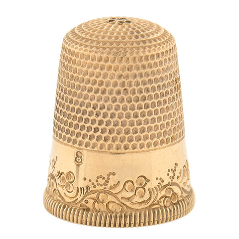 Victorian 12kt Gold Thimble & Woven Basket Holder Set