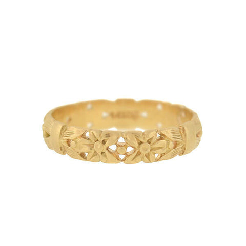 Victorian 14kt Carved Bow & Flower Filigree Band
