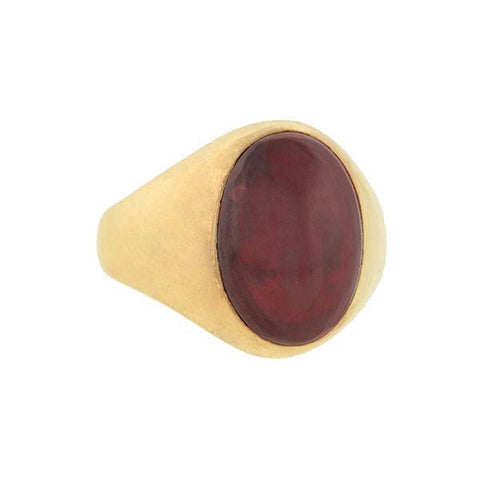 Victorian 14kt Yellow Gold & Garnet Cabochon Ring