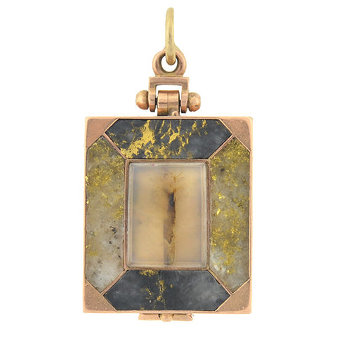 Victorian 14kt Gold Quartz Double Sided Locket