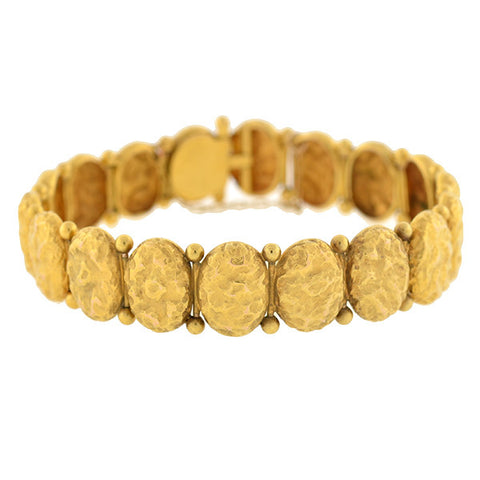 Victorian 14kt Gold Textured Button Bracelet