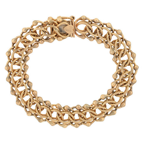 Victorian 14kt Hand Wrought Chain Bracelet
