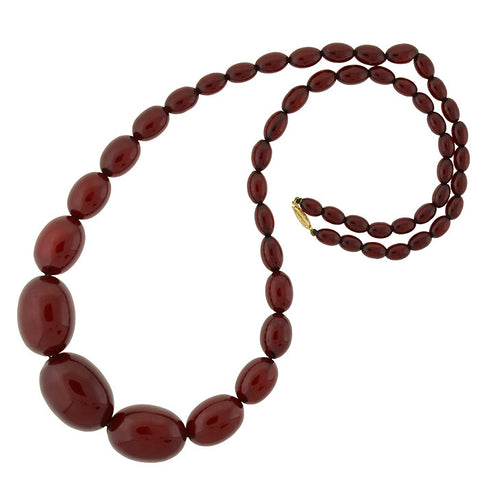Art Deco Huge Cherry Amber Bead Necklace & 14kt Clasp
