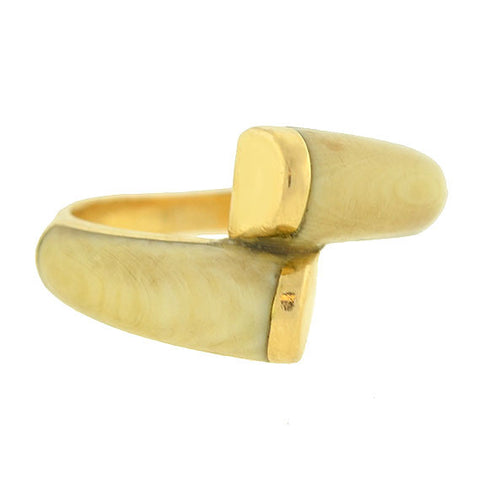 Vintage 14kt Carved Ivory Bypass Ring