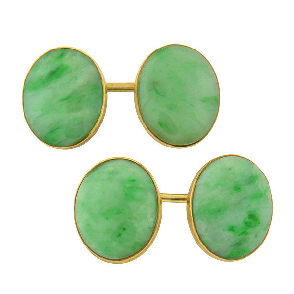 Art Deco 14kt Natural Jade Cufflinks