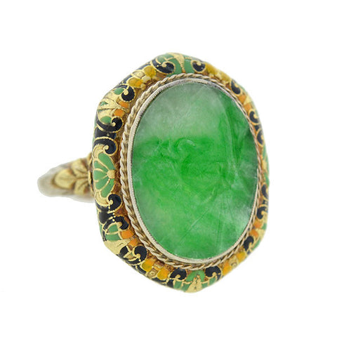 Art Deco Carved Jadeite & Enamel Ring