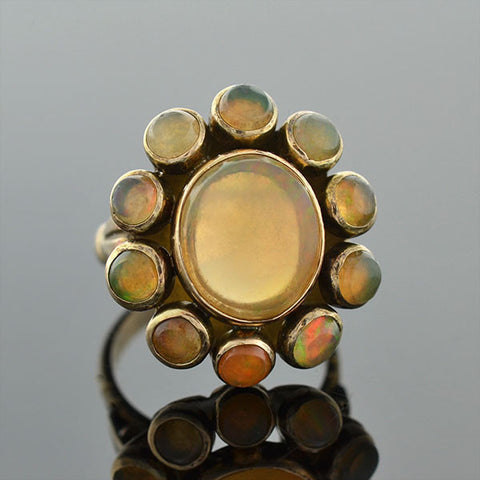 Art Deco 14kt Jelly Opal Cluster Ring