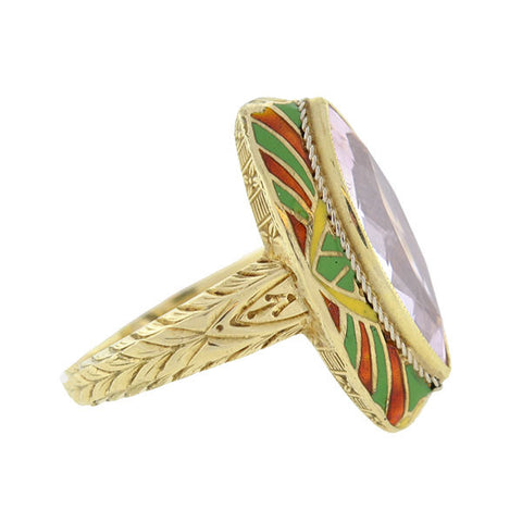 Art Deco 14kt Kunzite & Enamel Ring