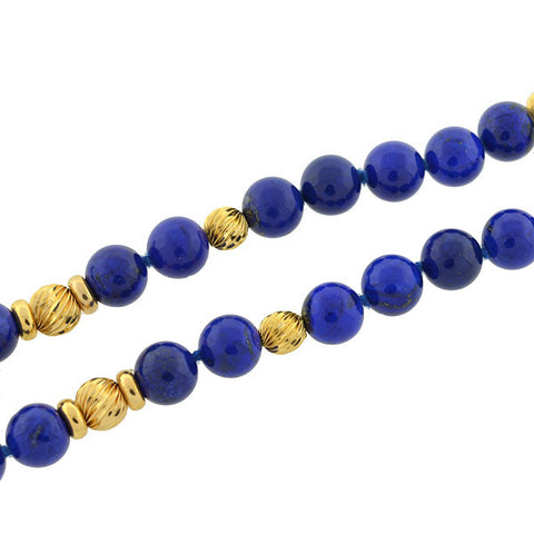 Estate 14kt Gold & Lapis Lazuli Bead Necklace 33""
