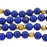 Estate 14kt Gold & Lapis Lazuli Bead Necklace 33