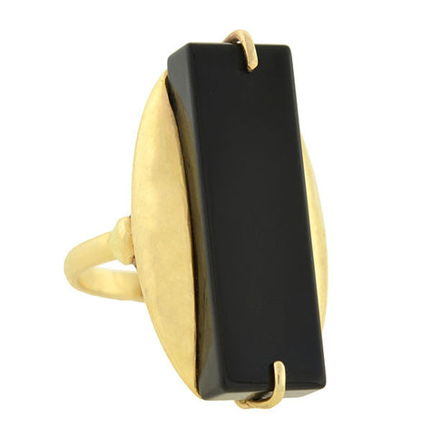 Estate Large 14kt Gold & Onyx Plaque Ring