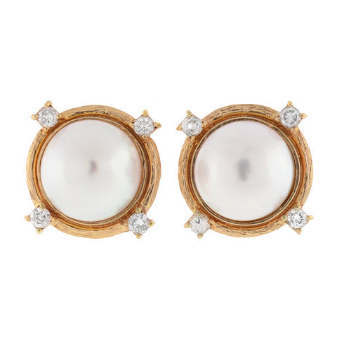 Vintage 14kt Mabe Pearl & Diamond Earrings