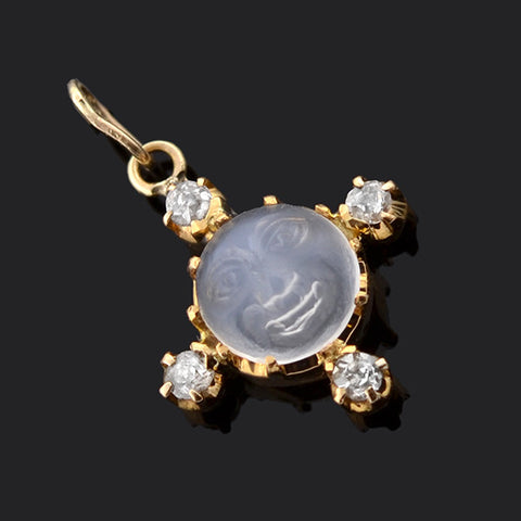 "Victorian 14kt ""Man in the Moon"" Moonstone & Diamond Pendant"