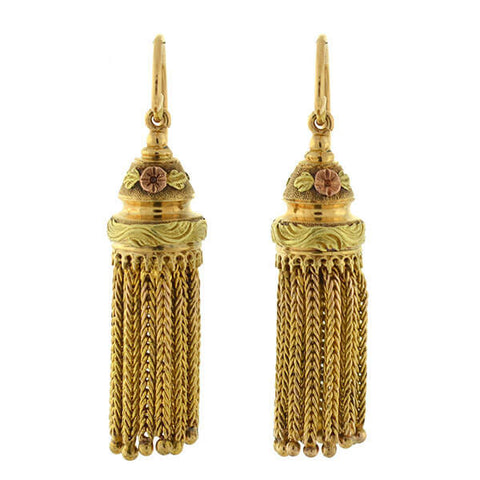 Victorian 14kt Mixed Metals Floral Tassel Earrings