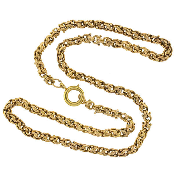 Victorian 14kt Yellow Gold Bead & Link Chain 18""