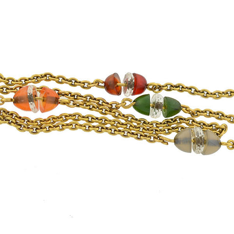 Art Deco 14kt Watch Chain w/ Agate & Crystal Beads 51""
