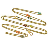 Art Deco 14kt Watch Chain w/ Agate & Crystal Beads 51