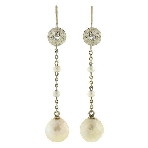 Edwardian 14kt Natural Pearl & Diamond Drop Earrings