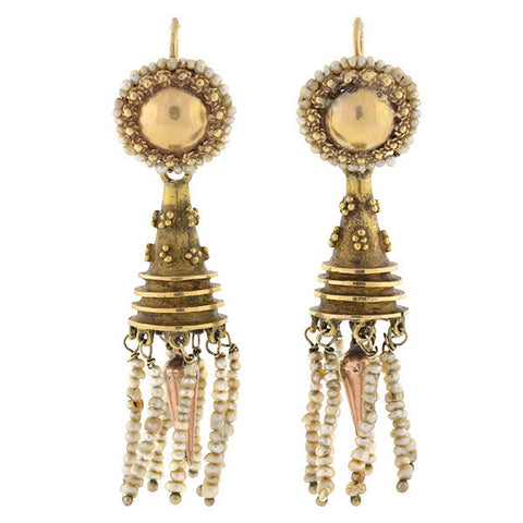 Victorian 14kt Natural Seed Pearl Dangling Earrings