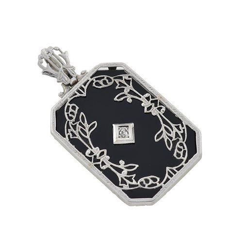 Art Deco 14kt Onyx & Diamond Filigree Pendant