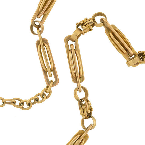 Victorian 14kt Gold Ornate Link Watch Chain 41.8dwt