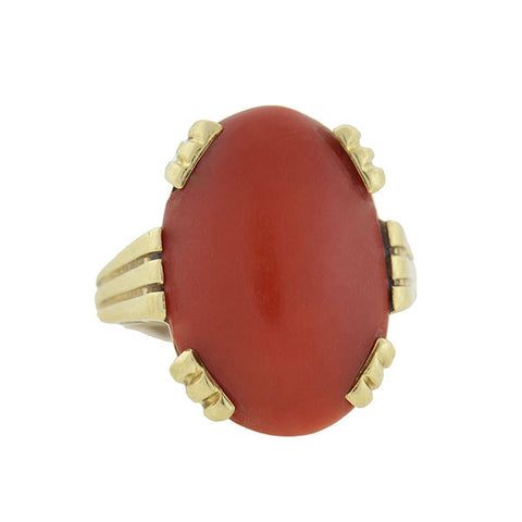 Late Art Deco 14kt Oxblood Coral Ring