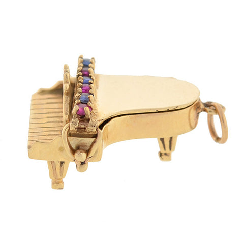 Vintage 14kt Pearl, Sapphire, & Ruby Baby Grand Piano Charm 6.1dwt