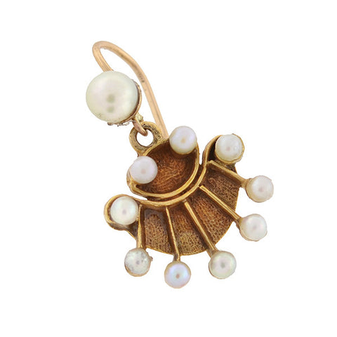 Vintage 14kt Gold Pearl Fan Earrings