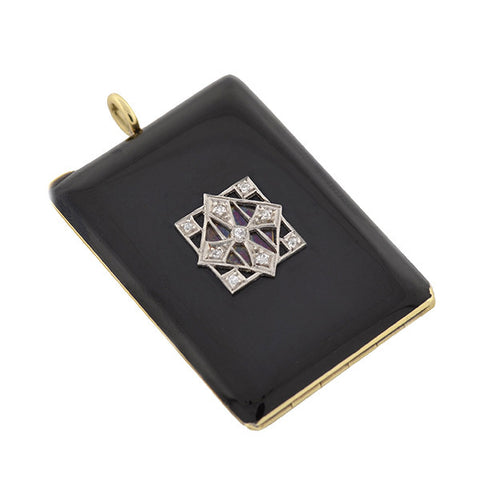Edwardian Platinum & 14kt Black Enamel & Diamond Locket