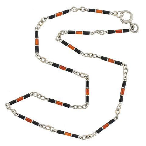 Art Deco 14kt Black & Red Enamel Bar Link Chain