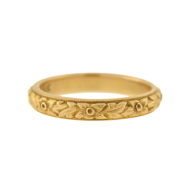 Art Deco 14kt Carved Floral Band