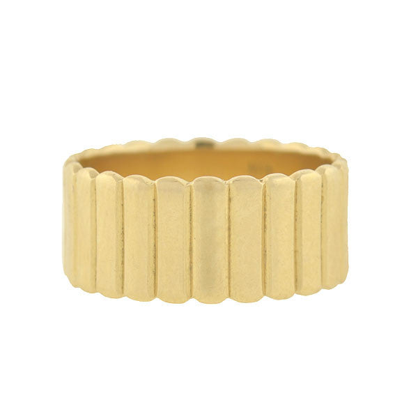 Estate 14kt Ribbed Gold Wide Band