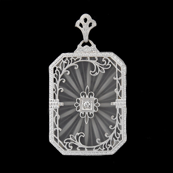 Art Deco 14kt Rock Quartz & Diamond Filigree Pendant