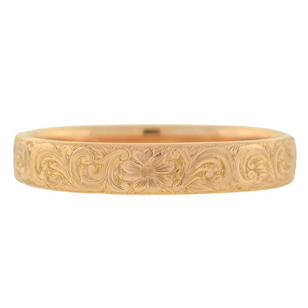 Victorian 14kt Rose Gold Floral Etched Bangle Bracelet