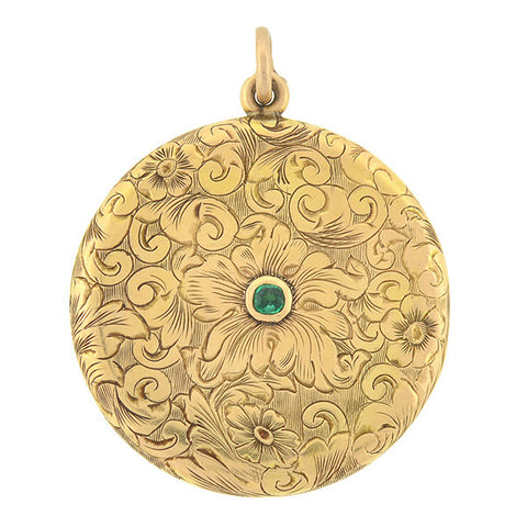 Late Victorian 14kt Etched Gold & Emerald Locket