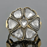 Victorian Sterling/14kt Rose Cut Diamond Flower Ring 1.30ctw