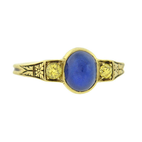 Late Victorian 14kt Sapphire Yellow Diamond Ring