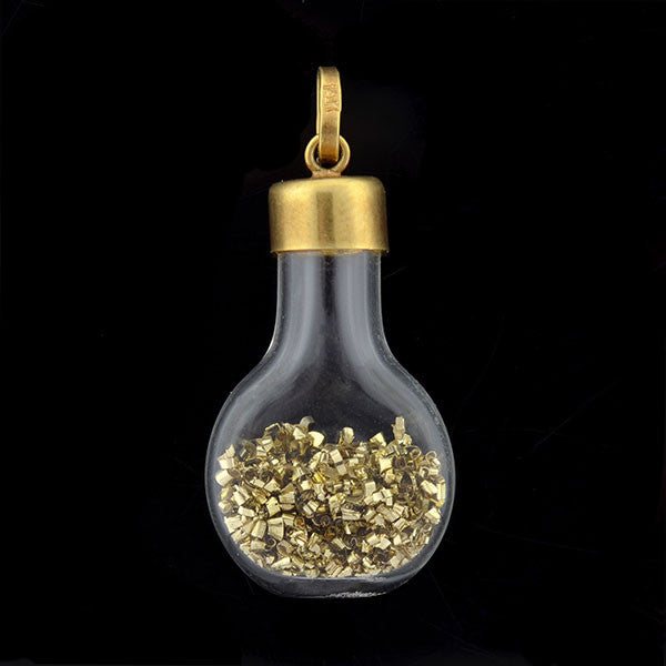 Retro 14kt Gold Dust Glass Bottle Charm