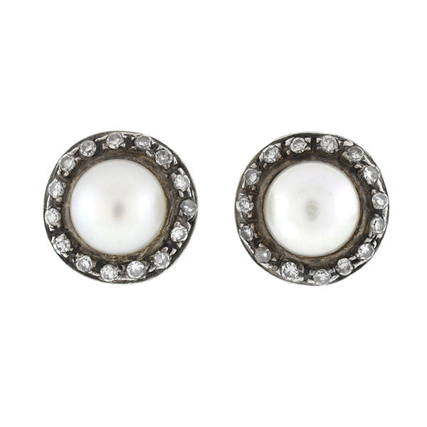 Late Victorian Silver Topped 14kt Pearl & Diamond Studs